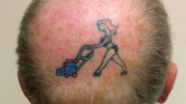 man tattoos his wife on bald spot one news page us video